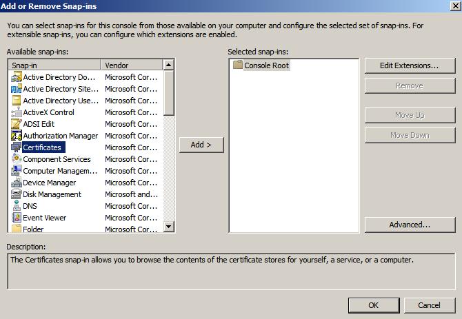 cert snap int Enabling LDAPS on Windows 2008 Active Directory Server