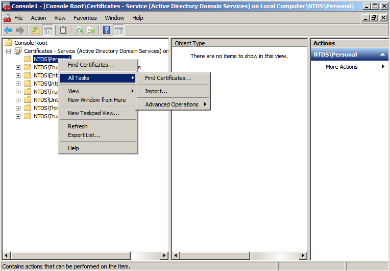 cert snapin import cert Enabling LDAPS on Windows 2008 Active Directory Server