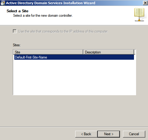 default site ad setup Configure AD Replication with Windows 2008
