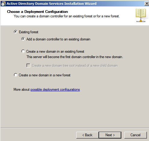existing forest Configure AD Replication with Windows 2008