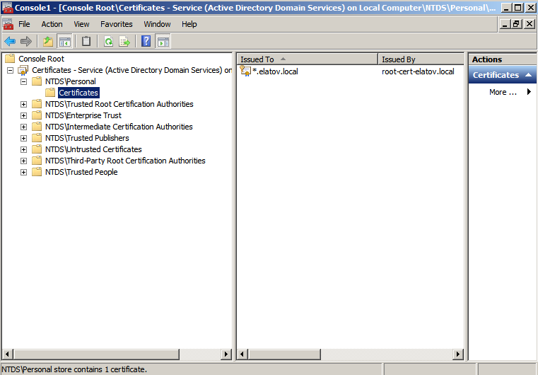 ldaps cert imported Enabling LDAPS on Windows 2008 Active Directory Server