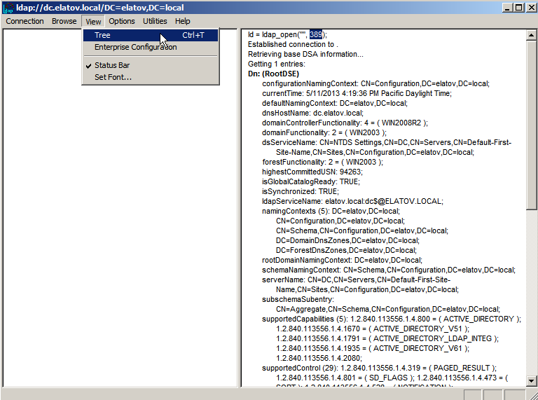 ldp exe tree button g Enabling LDAPS on Windows 2008 Active Directory Server