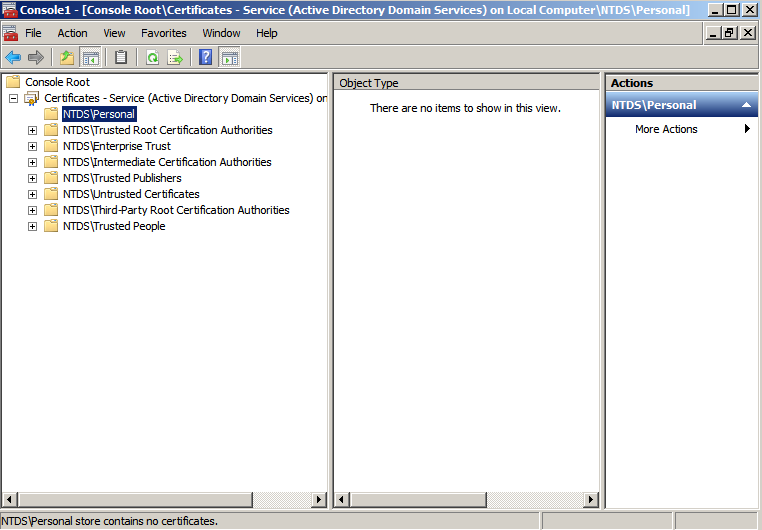 ntds cert snapin Enabling LDAPS on Windows 2008 Active Directory Server