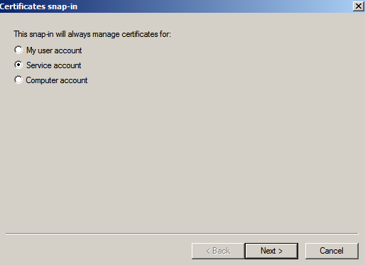 serv acct cert snapin Enabling LDAPS on Windows 2008 Active Directory Server