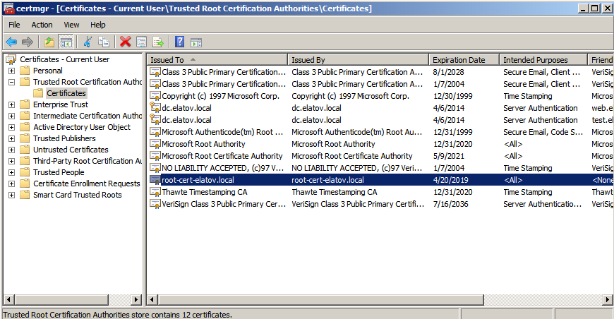 trusted root ca certs self signed Enabling LDAPS on Windows 2008 Active Directory Server