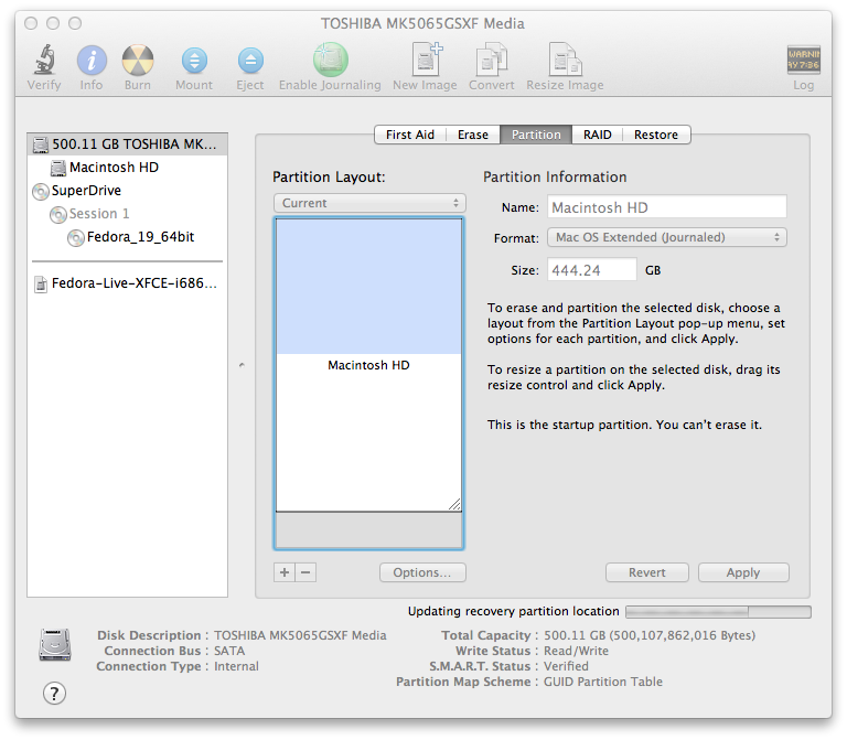 DiskUtility Resize partition Install Fedora 19 on Mac Book Pro