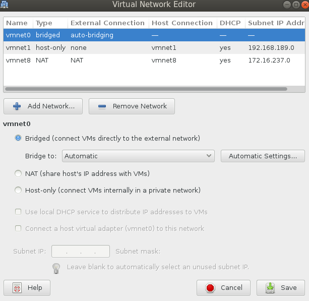 network editor started Installing VMware Workstation 9.0.2 on Fedora 19