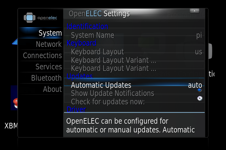 openelec settings OpenELEC on Raspberry Pi