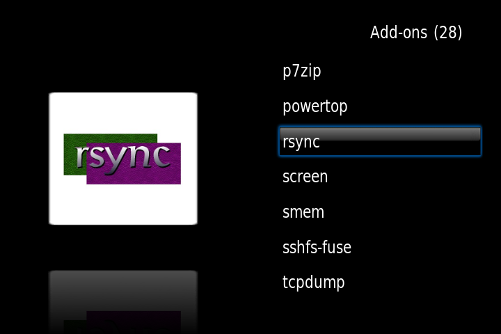 select rsync plugin from unof repo OpenELEC on Raspberry Pi