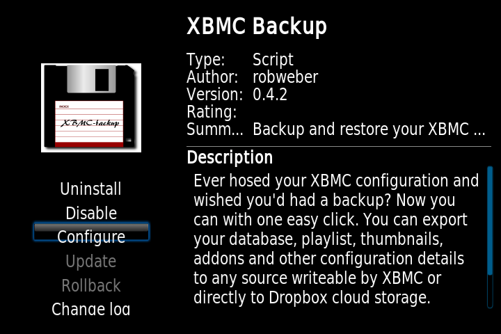 xbmc backup configure OpenELEC on Raspberry Pi