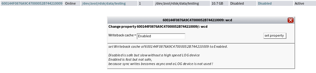 enable write cache ZFS iSCSI Benchmark Tests on ESX