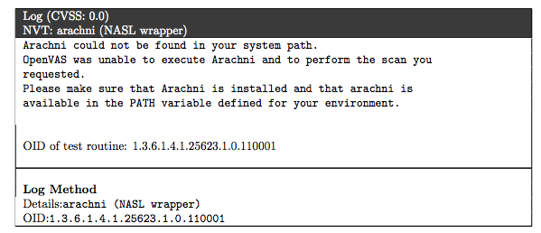 arachni missing in results OpenVAS on CentOS