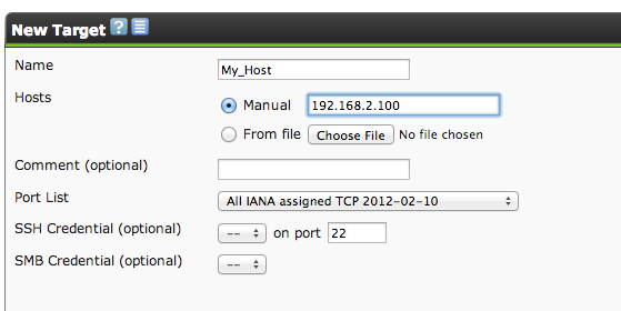 gsa new target filled out OpenVAS on CentOS