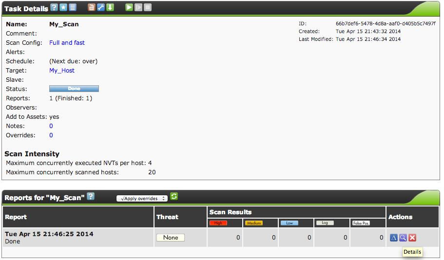 task details gsa OpenVAS on CentOS