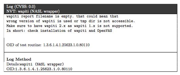 wapiti empty report OpenVAS on CentOS