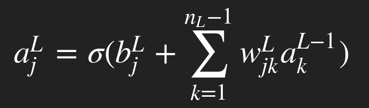 An equation giving the output of a neuron as some function (σ) being applied to the sum of previous layer outputs multiplied by a weight with a bias added to it.