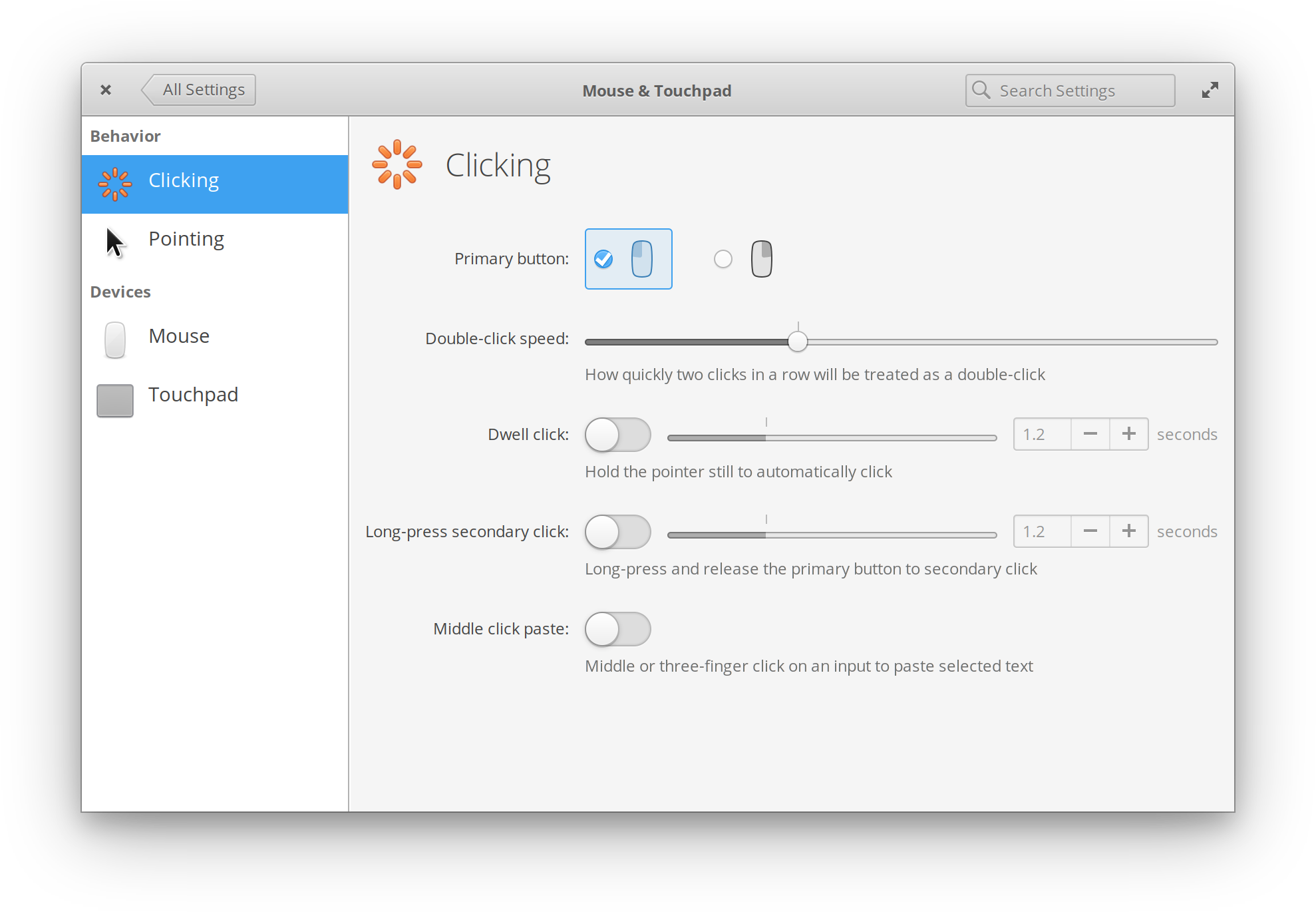 Updated Mouse & Touchpad settings