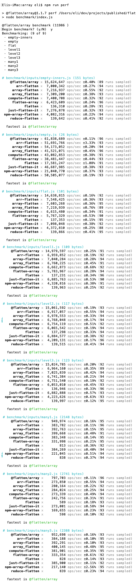 Show performance comparison with various inputs for this implementation, array-flatten, and flatten-array.