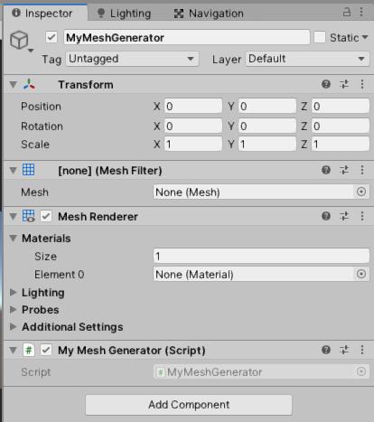 Components include MeshFilter, MeshRenderer, MyMeshGenerator