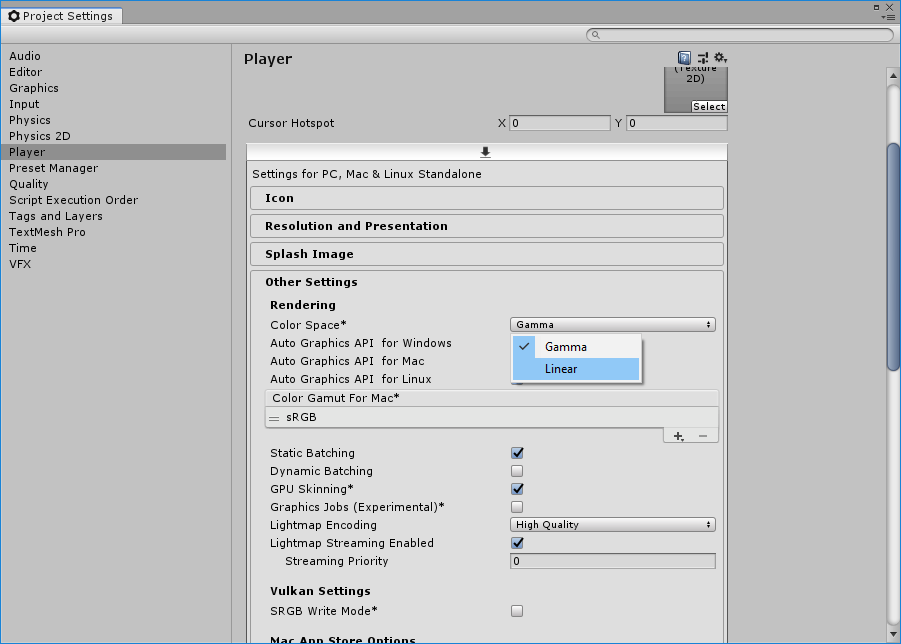Set the color space to Linear in the Project Settings