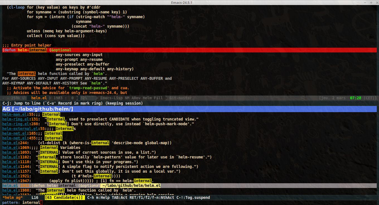 Emacs-helm grep ag