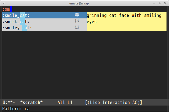 Screenshot of ac-emoji on Linux