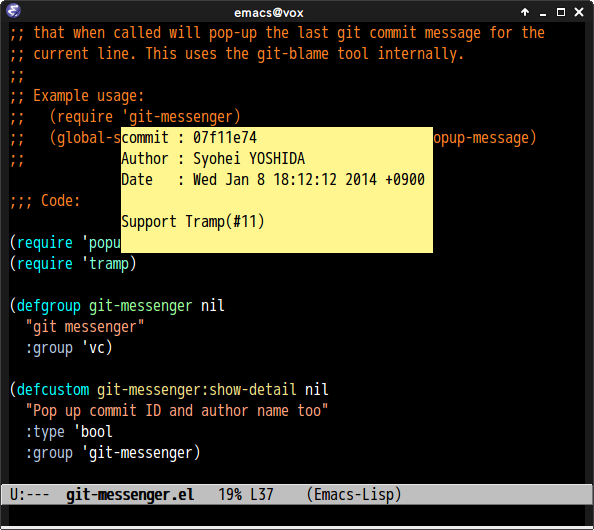 Screenshot of git-messenger with prefix argument