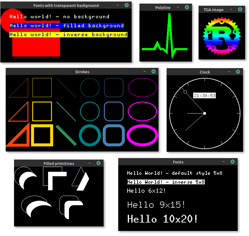 It can display all sorts of embedded-graphics test code.