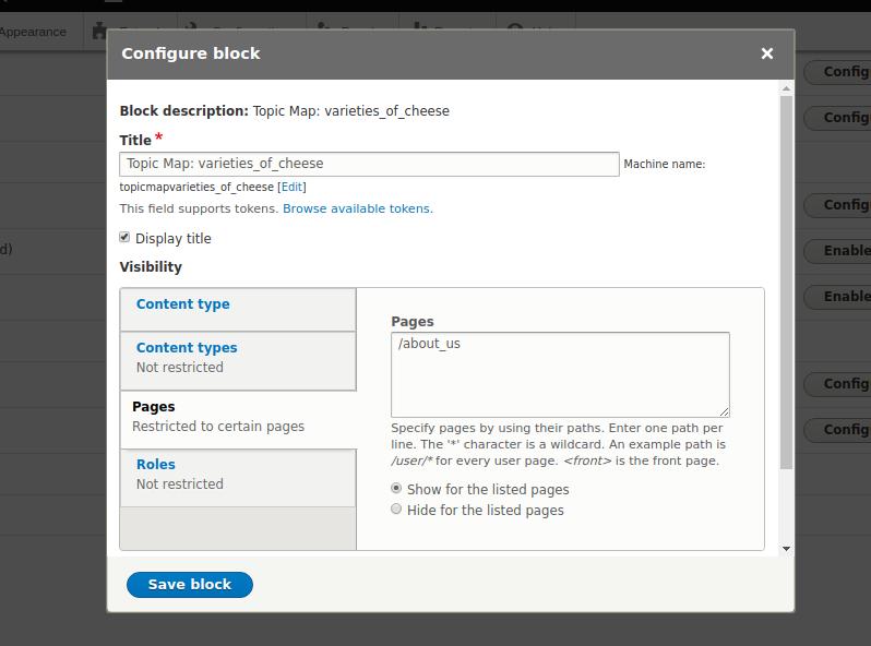 Block page config