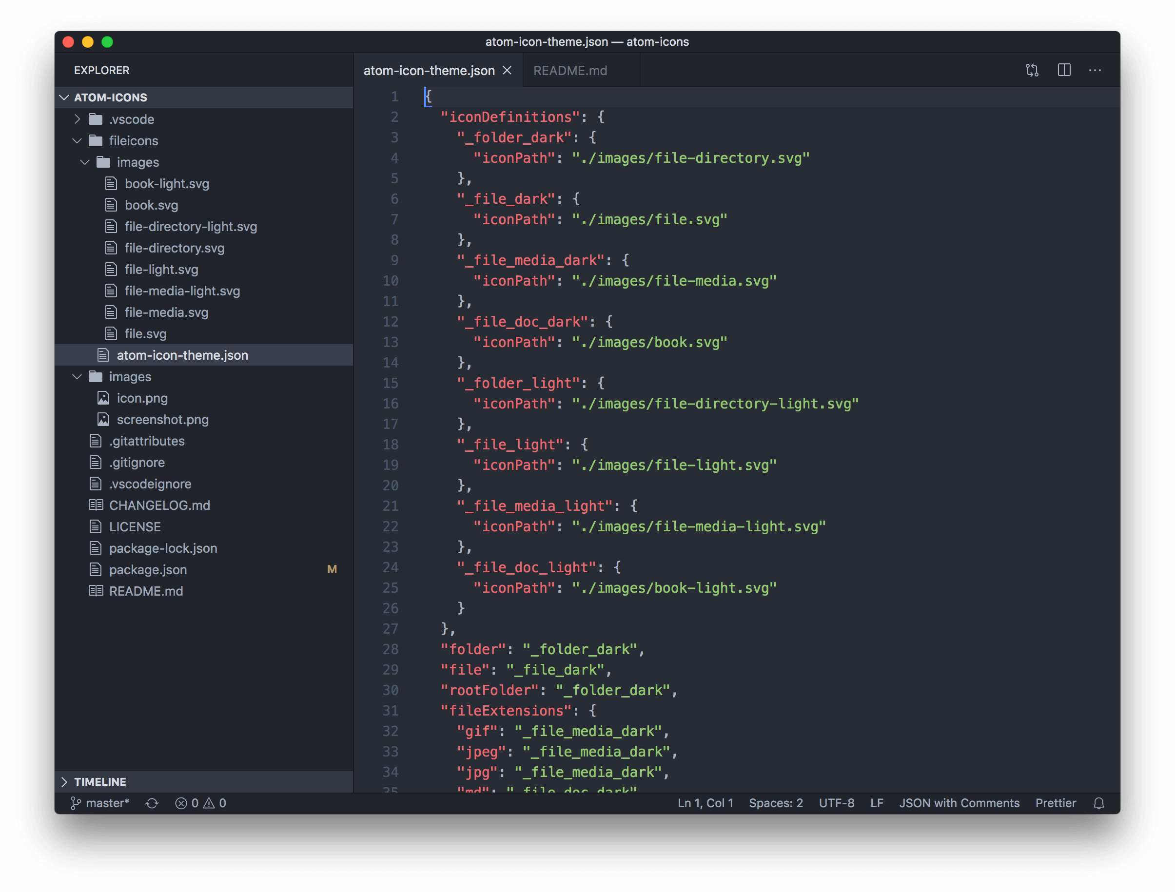 Screenshot of VS Code with Atom Icons theme