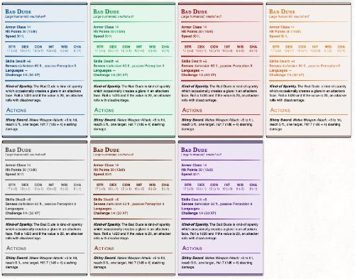 Monster Stat Block Colors