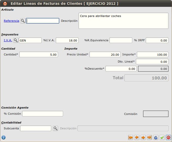 Editar líneas de facturas de clientes