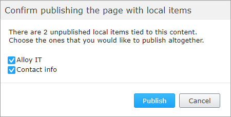Publish content with local blocks