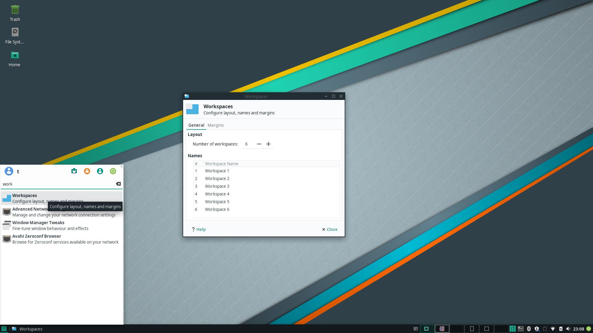 Visualized Desktop Workspace flow in Manjaro linux 18 - XFCE