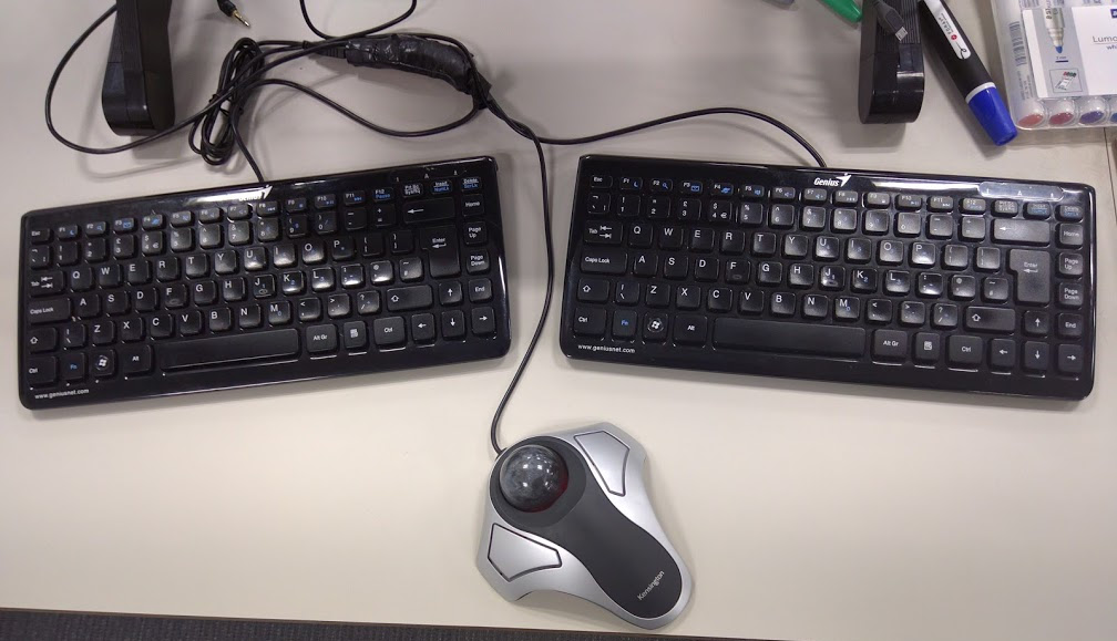 image of split keyboard before join