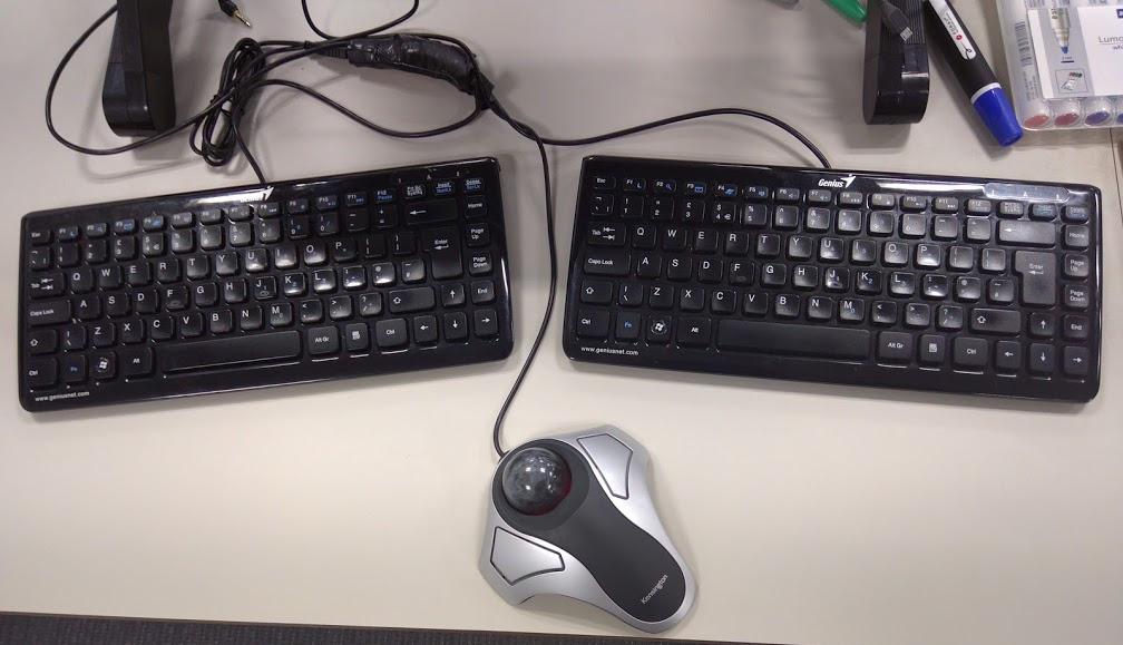 image of split keyboard before join