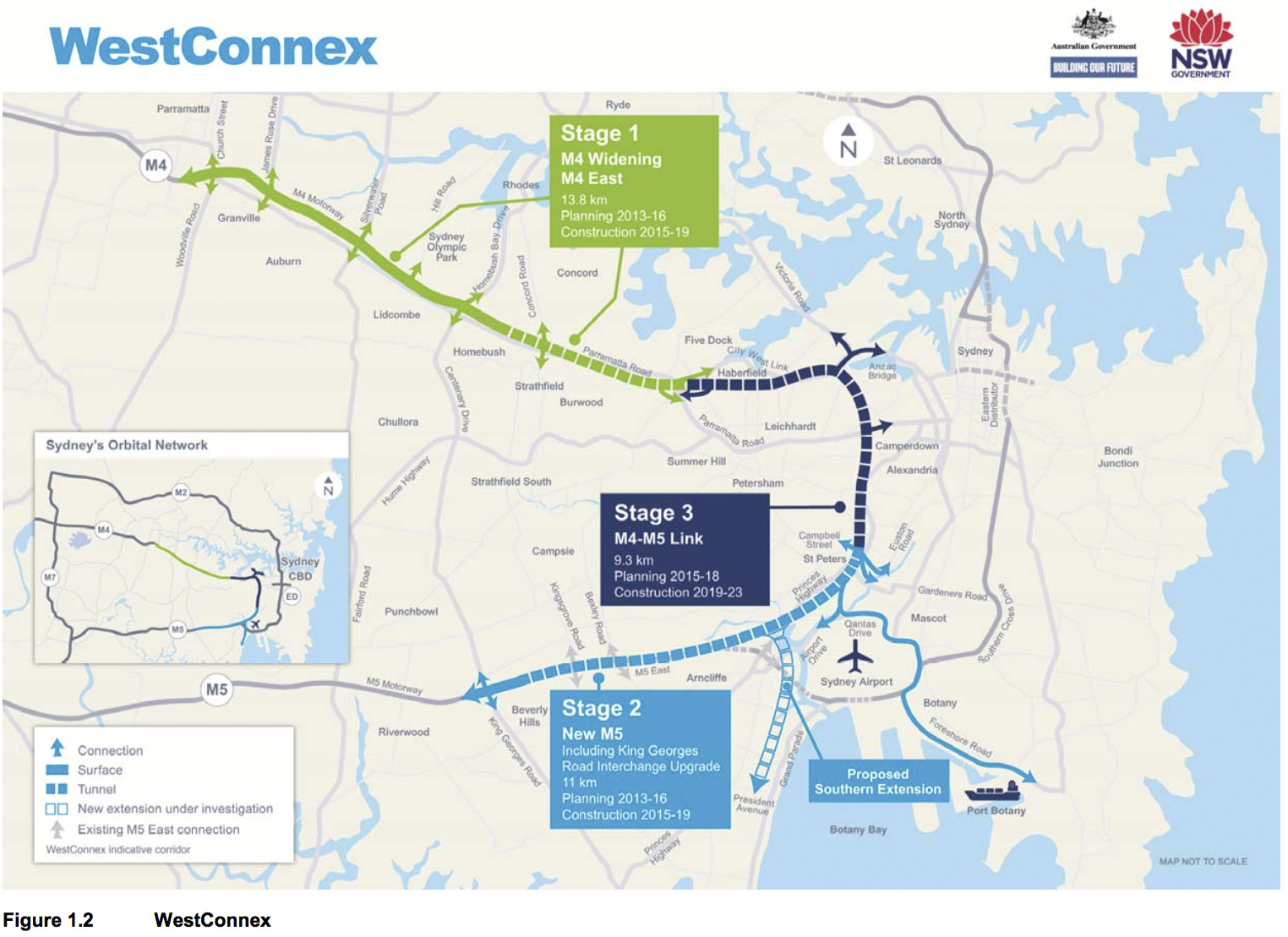 Map of WestConnex route through Sydney