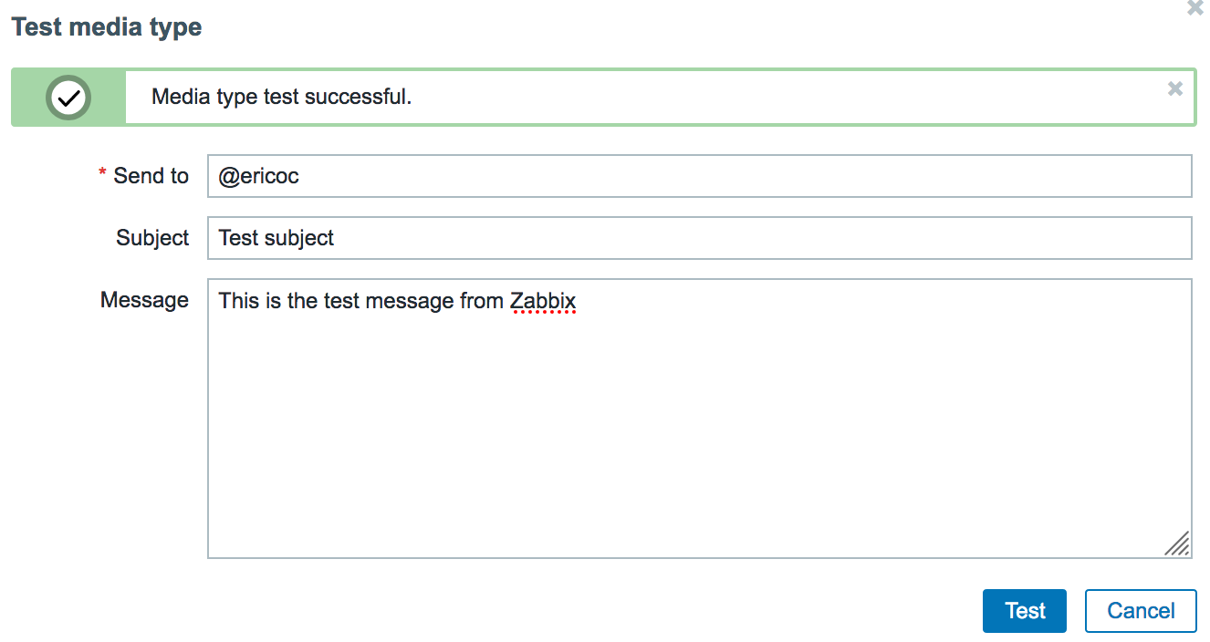 Zabbix Media Type Test