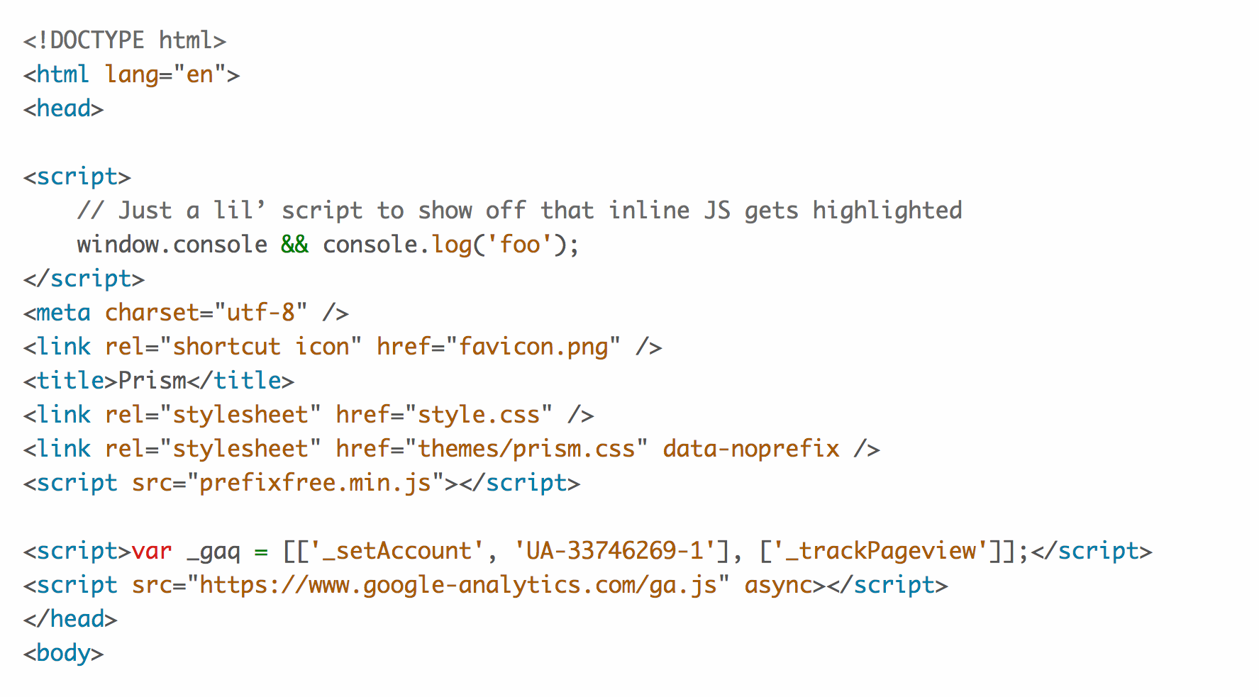 The a11y-light theme being applied to the HTML of the Prism.js website. Screenshot.