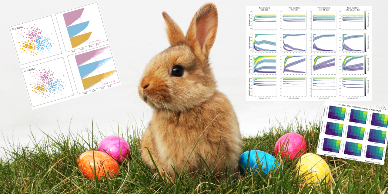 Bunny amid science eggs and Easter graphs