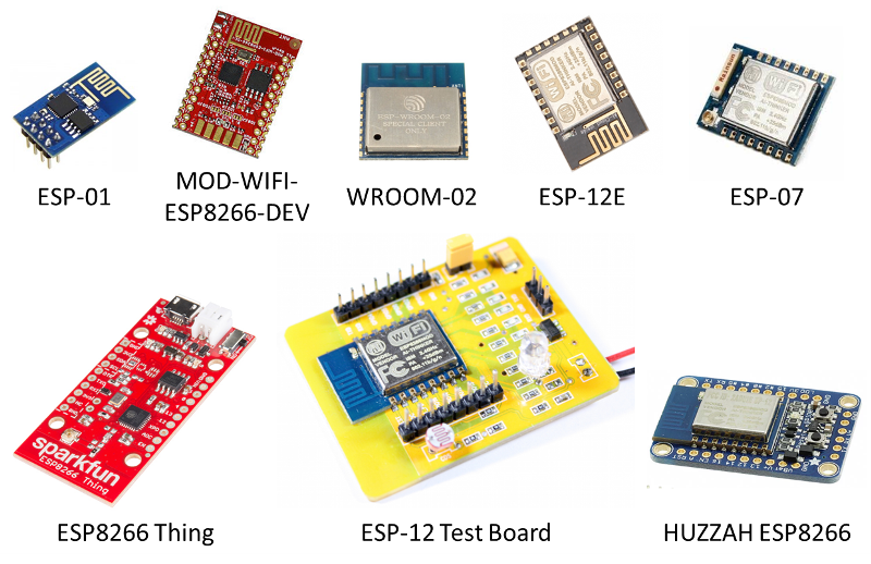 Example ESP8266 modules without USB to serial converter