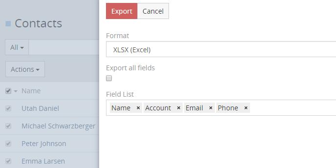 Click Export action