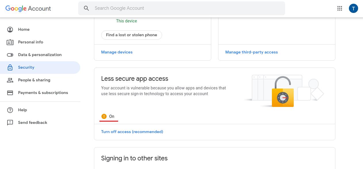 Less secure app