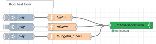 Node-RED kodi flow example