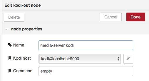 Node-RED kodi connection config