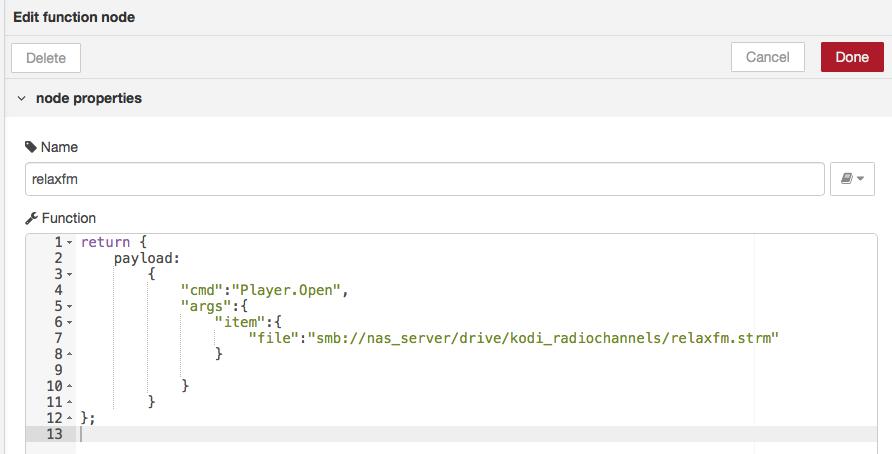 Node-RED kodi play stream command example