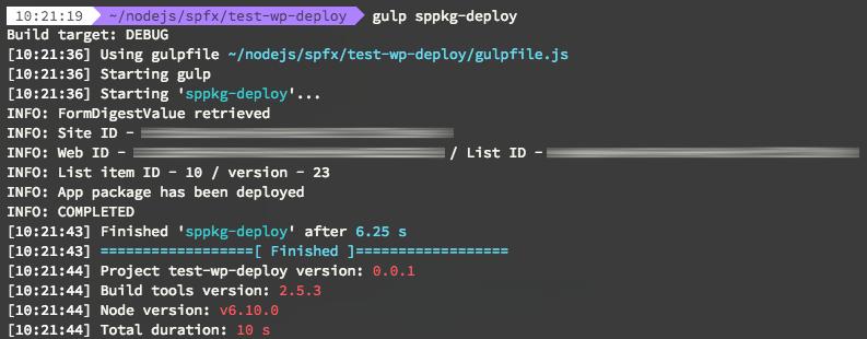 Gulp task output