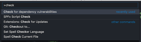 Check for dependency vulnerabilities command