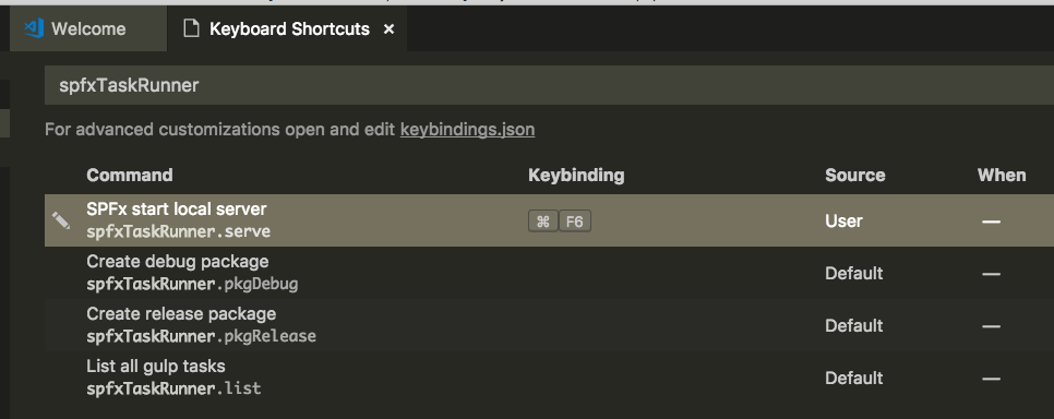 Keyboard binding example