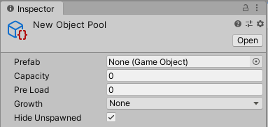 Object Pool as it appears in the Unity inspector, with options for prefab, pre-loading, capacity and pool growth
